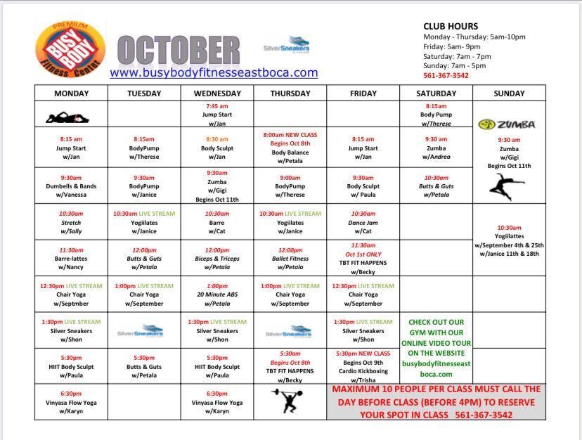 Busy Body East Boca October Class schedule